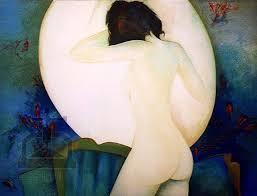 FEMME nue devant miroir