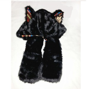HIVER CHAUSSURESblack-wolf-hat-paws-winter-personalized-women-hats-72947